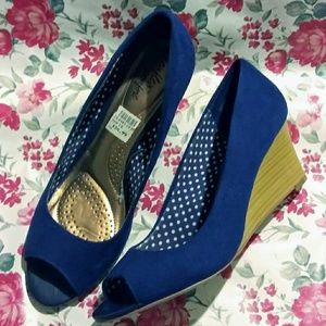 Dexflex Comfort Navy Blue Suede Peep Toe Wedge